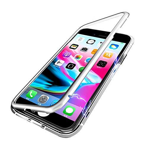 Für iPhone 6Plus/ 6SPlus Hülle, Colorful Magnetische Adsorption Handyhülle mit Eingebauter Magnet Funktion, Ultra Dünn Tempered Glass Back Cover Case für Apple iPhone 6Plus/6SPlus (Silber) (6plus Iphone Hybrid Case)