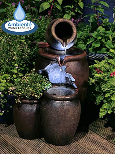 50cm Earthenware Honey Pot 3-Tier Water Feature and Planter with LED Lights by Ambienté