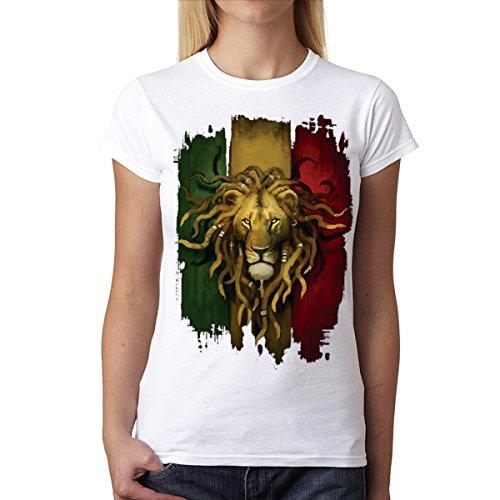 Rasta Löwe Damen T-shirt S-2XL Neu Weiß