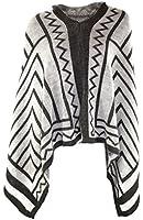 #4114 Damen Designer Strickjacke Poncho Cape Srickjacke Cardigan Überwurf Onesize 36 38 40 42 Beige Grau Gelb Rot