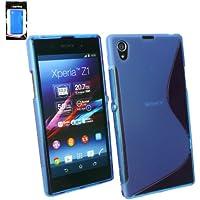 Emartbuy ® Sony Xperia Z1 Wellenmuster Gel / Schutzhülle Skin Cover Blau