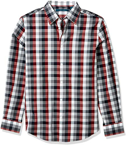 Perry Ellis Herren Multi Color Check Print Long Sleeve Button Down Shirt Hemd, Rote Dahlia, XX Large -