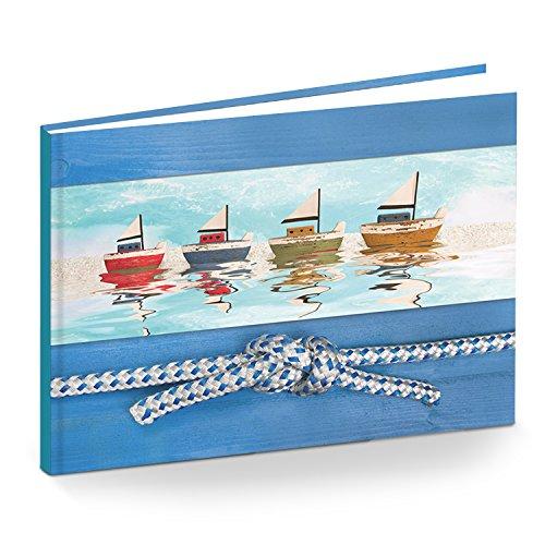 Kleines DIN A5 Tagebuch Notizbuch Gästebuch Logbuch maritim blau türkis Blanko-Buch Geschenk-Buch SCHIFFE BOOTE Geschenkbuch leeres Buch ohne Inhalt - Geschenk Meer Segeln Segelboote