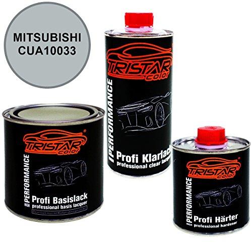 Preisvergleich Produktbild 1,25 Liter 2K Lack Set MITSUBISHI CUA10033 BRILLIANT SILVER M. / LIQUID SILVER M. ab 2005 - Profi Autolack spritzfertig & Klarlack & Härter