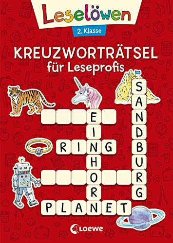 Leselöwen Kreuzworträtsel für Leseprofis - 2. Klasse (Rot) (Leselöwen Rätselwelt) -