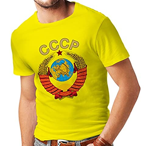 T-shirt pour hommes T-shirt Union Soviétique СССР drapeau Russe t-shirt (Medium Jaune Multicolore)