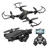 Powpro 360Grad Flight Path, faltbar, Drohne mit Fernbedienung, FPV, VR, Wlan, RC, Quadrocopter, 2,4GHz 6-Achsen Gyro, Drohne mit 720p HD 2MP Kamera Drohne, 120Grad Weitwinkel, Schwarz