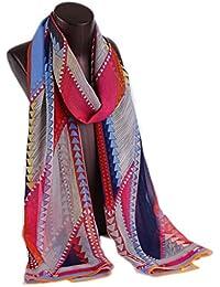 Prettystern HL762 - 180cm Mousseline de soie foulard de soie - géométrie colorée - 4 couleurs