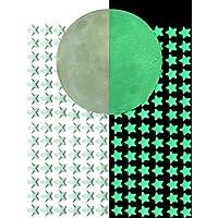 Qualsen Glow in the Dark Moon Stars Stickers, 1 Full Moon and 216 pcs Stars,High Luminance Waterproof Decorative Luminous Wall Sticker Self-adhesive