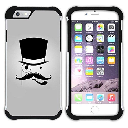 Graphic4You Mustache Schnurrbart Lustig Design Hart + Weiche Kratzfeste Hülle Case Schale Tasche Schutzhülle für Apple iPhone 6 / 6S Design #7