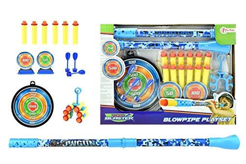 (Toi-Toys 32009Z mehrteiliges Blasrohr mit Doppelfunktion für Kinder Spuckrohr Zielscheibe Pfeile Saugnäpfe Schaumstoffpfeile Jungen Kinderspielzeug Outdoor)