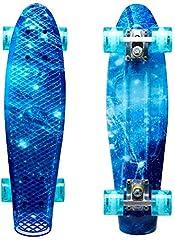 Idea Regalo - ENKEEO Fish Board Mini Cruiser Skateboard 57cm 4 PU Ruote per Principiante Bambini, Giovani e Adulti, Ocean