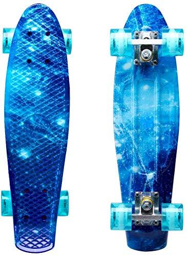 ENKEEO 57cm Mini Cruiser Board Skateboard mit stabilen Deck 4 PU-Rollen für Kinder, Jugendliche und Erwachsene (Ozean)