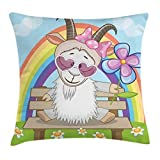 pigyear888 Goat Throw Pillow Cushion Cover, Colorful Animal with Heart Shaped Glasses And Horns Sitting on a Bench Under a Rainbow, Decorative Square Accent Pillow Case, 18 X 18 Inches