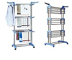 ASP Healthcare Cloth Drying Stand 26 Stainless Rods 75 X67X180 cms Blue