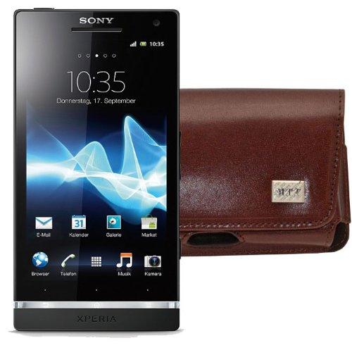 MTT Original Quer-Tasche mit Sicherheitsschlaufe für Sony Xperia S braun