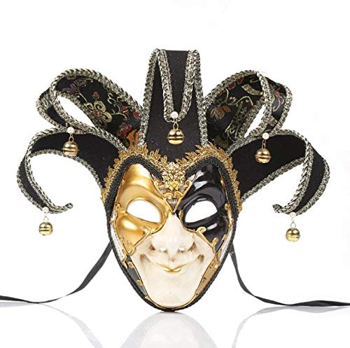 Kostüm Pro Clown - Pro Hight Clown-Maske für Halloween, Jokermaske, Clown-Kostüm, Cosplay, Party-Maske, Schwarz, Schwarz, 39x33x16cm