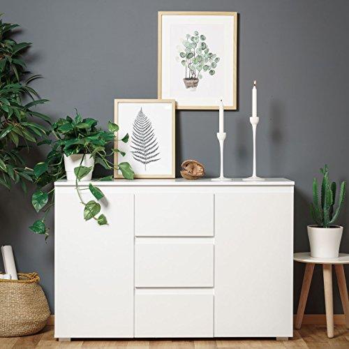 Preisvergleich Produktbild Modell 2017 Sideboard Schubladen Kommode Anrichte PURE 4 mit 2 Türen und 3 Schubladen in Weiß - 120cmx80cmx40cm
