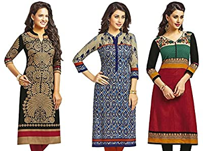 Jevi Prints Women's Kurti Fabrics (Pack Of 3) (Saheli-1204-1206-1215_Multi-Coloured)