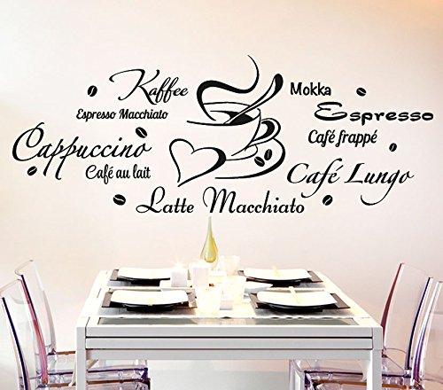 Wandora Wandtattoo Kaffeesorten + Tasse I schwarz (BxH) 120 x 45 cm I Küche Esszimmer Cappuccino Espresso Sticker Aufkleber Wandaufkleber Wandsticker G178 - Espresso-esszimmer