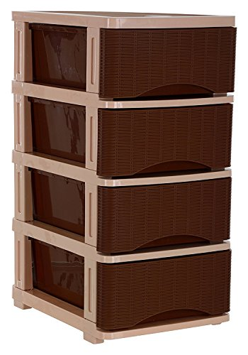 Nayasa Plastic Tuckins, 4 Drawers, Cane Brown