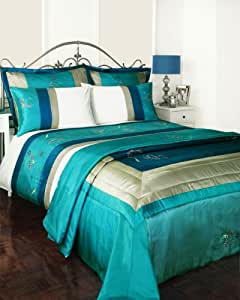 KING SIZE BED SET - TURQUOISE TEAL DUVET COVER & BEDSPREAD THROW