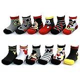 Disney Jungs Mickey Mouse Farbe sortiert Design 12 Paar Socken-Set 0-6 Monate Schwarz-grau-rot-Sammlung