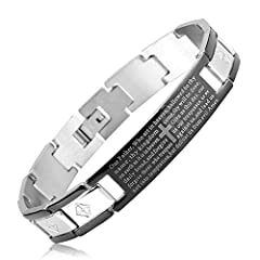 Idea Regalo - LUXUSTEEL Nazareno braccialetto del braccialetto intagliato con Crocifisso e la devota preghiera, l'acciaio Bracciale Bangle Men acciaio