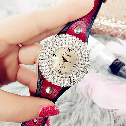 WZFCSAE Marke Weibliche Uhr Gabriel Diamond Face Weibliche Uhr Gürtel Weibliche Uhr Uhr Damenuhr Elektronische Uhr Rot