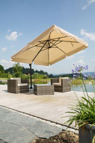 Schneider Sonnenschirm Rhodos, natur, 300x300 cm quadratisch, Gestell Aluminium/Stahl, Bespannung Polyester, 23.3 kg -