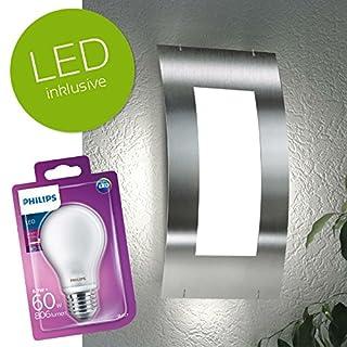 CMD   Aqua Quadrat   LED Außenwandleuchte   Edelstahl Aussenleuchte / Außenlampe   inkl. PHILIPS LED Leuchtmittel E27