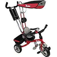 Kiddo Red 4-in-1 Childrens Tricycle Kids Trike 3 Wheel Bike Parent Toddler Trike - Red