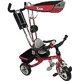 Kiddo - Triciclo Smart 4 in 1, con maniglione direzionabile, colore rosso