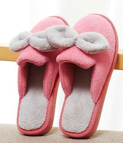 Autunno inverno carino e femminile di prua anti casa coperta di cotone caldo pantofole - ciabatte antiscivolo Pink
