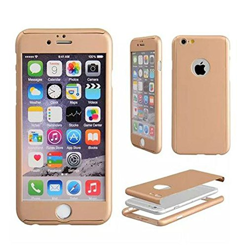 Tarkan Luxury Slim 360 degree Full Body protective case cover with Tempered Glass for Apple iPhone 6 / 6S 4.7 inch (Champagne Gold)