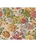 Polsterstoff Möbelstoff Bezugsstoff Meterware für Stühle, Eckbänke, etc. - Gobelin Grün Blumenmuster Baumwolle - Muster