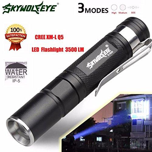 Gusspower Mini 3500LM Zoomable Q5 LED linterna antorcha súper brillante lámpara de luz impermeable 80 * 13 * 13mm,hogar, actividades al aire libre, senderismo, pesca nocturna, camping