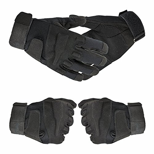 fenrad® Nero Tactical Militare Sport Corsa della Guanti Finger Completa Della Barretta Airsoft Pesca Palestra Caccia Equitazione Gloves Size L(21CM-23CM)--Black
