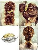 Mobengo fermaglio per capelli a forma di foglia piuma capelli clip pin artiglio Headwears capelli accessori confezione da 2(oro + argento)