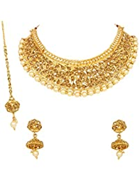 Sanara Gold Plated Necklace Set For Women Wedding & Partywear Bollywood Fashion Necklace Jewelry
