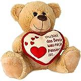 matches21 Teddybär mit Herz DU BIST DAS BESTE hellbraun / beige 25 cm Geschenk Klassiker Partner Freundin Valentinstag