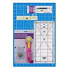 Kit básico para patchwork. Incluye: 1 base de corte 45x30 cm | 1 regla 15x30 cm | 1 cutter rotativo 45mm con cuchulla incluida | 1 recambio cuchilla zig-zag ...