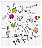 Abakuhaus Duschvorhang, Gekritzel Art Gezeichnete Chemie zusammensetzung Atom Molekül Flasche Nerd Geek Thema Druck, Blickdicht aus Stoff inkl. 12 Ringen Umweltfreundlich Waschbar, 175 X 200 cm