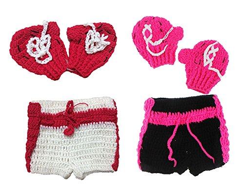 KAIKSO-IN Newborn Baby Boxer Infant Strick Crochet Kostüm Foto Fotografie Prop Rot