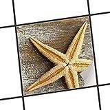 creatisto Fliesen-Aufkleber/Küchenfolie 10x10 cm 1x1 / Design Sticker Starfish/selbstklebende Dekoration