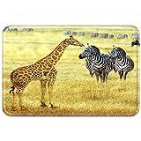 Violetpos Gaming Mauspad 25 × 30 × 0.3 cm Mausunterlage mit Wasserdichte Oberfläche und Anti-rutsch Gummiunterseite Mauspads Afrikanische Tierwelt Giraffe Zebra Prärie