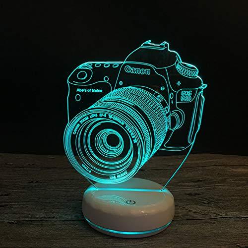 Base Porzellan Lampe (Porzellan White Base Kamera 3D Lampe Led Bunte Fernbedienung Leuchtleuchte Leuchte Lampe Acryl Vision Stereolampe Stromversorgung Modus: Usb-Stromversorgung)