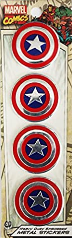 CAPTAIN AMERICA SHIELD, Officially Licensed Original Artwork, 3 Cm - Heavy Duty Metal Sticker DECAL autocollant
