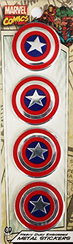 "Preisvergleich Produktbild Marvel Licensed Heavy Duty Embossed Metal Stickers 4/Pkg-Captain America 1.125""X"