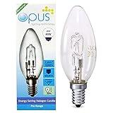 5x Bougie Opus 28W = 40W SES E14petit culot à vis Long Life Transparent Ampoules Eco Halogène Compatible variateur d'intensité pour lampes à économie d'énergie
